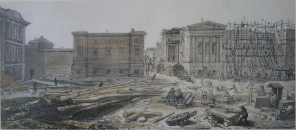 Montagu House, Townley Gallery and Sir Robert Smirke's west wing under construction (July 1828)