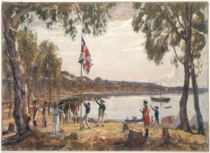 The_Founding_of_Australia_By_Capt_Arthur_Phillip_RN_Sydney_Cove_Jan_26th_1788_Original_oil_sketch_1937_by_Algernon_Talmage_RA
